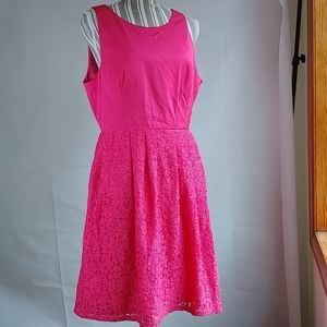 Adrianna Papell Pink Lacy Dress +  Back Cutout 14